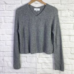 L'Academie Revolve Gray Ribbed Cropped Sweater